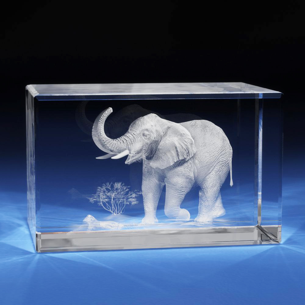 3d Laser Crystal Glass Etched Engraving Stand Elephent