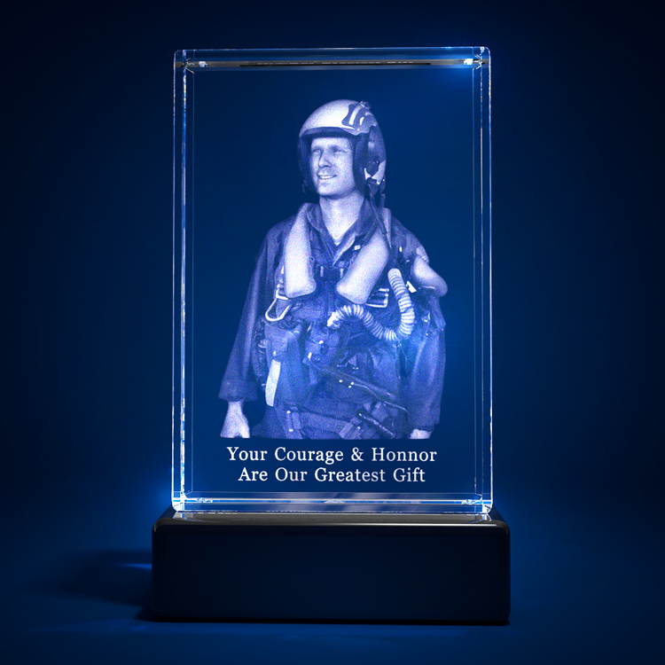 3D Laser Crystal Glass Personalized Etched Engrave Stand Graduation Landscape S