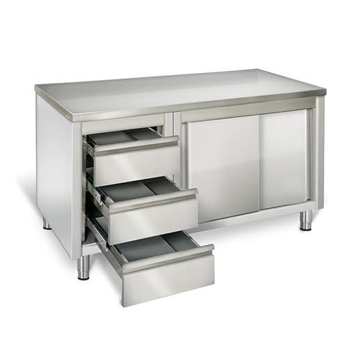 EQ Commercial Stainless Steel Work Prep Table w Cabinet 3  : THASR187L3 2 from www.ebay.com size 500 x 500 jpeg 13kB