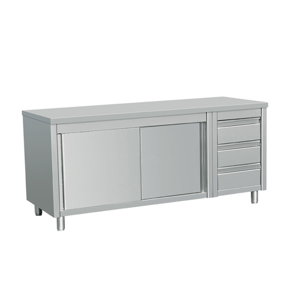 Commercial Stainless Steel Kitchen Cabinets: EQ Commercial Stainless Steel Work Prep Table W/ Cabinet 3