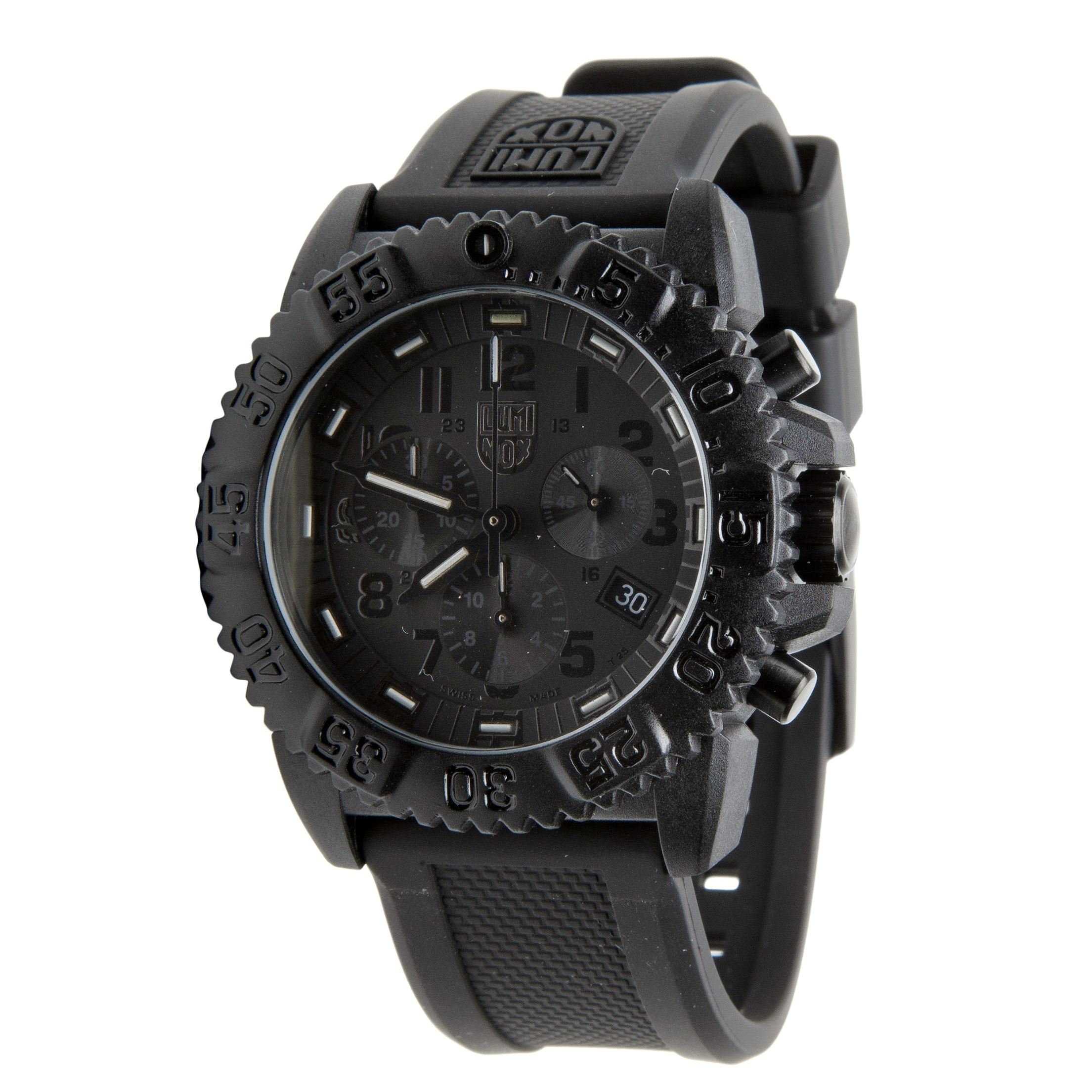 New luminox analog men 39 s watch 3081 bo all black rubber navy seals blackout army for Luminox watches