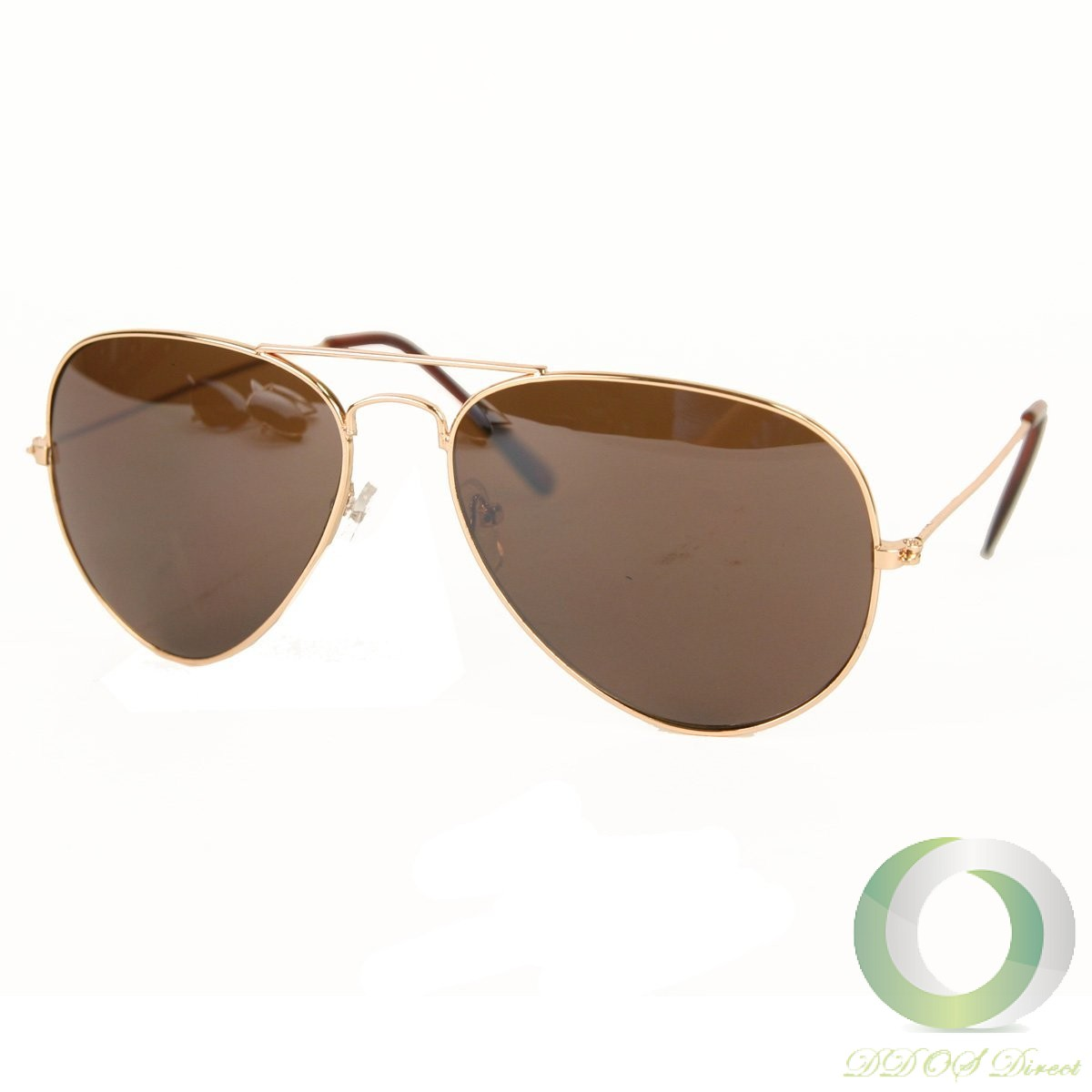 UB Classic Aviator Sunglasses: Gold Frame with Brown ...