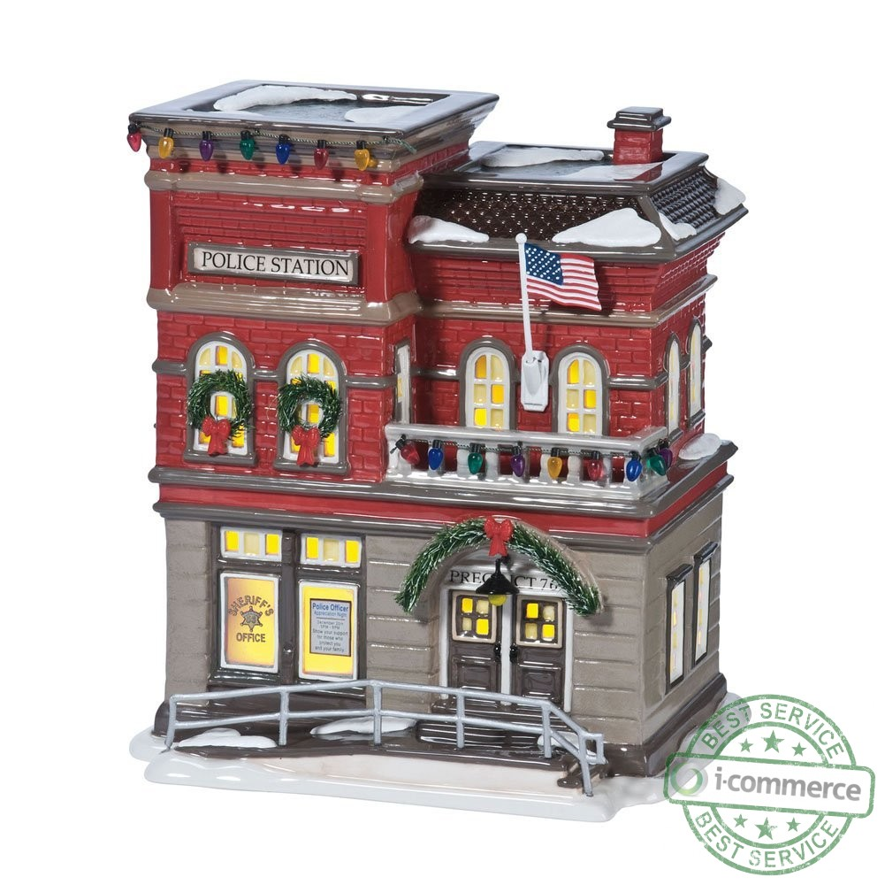new department 56 original snow village svpd precinct 76 lit house ebay. Black Bedroom Furniture Sets. Home Design Ideas