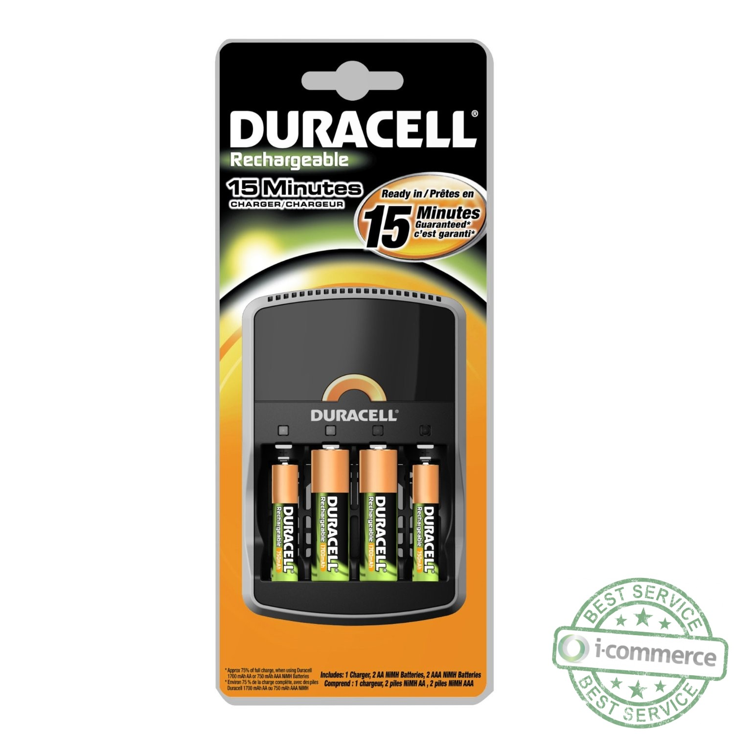 new duracell 15 minute charger with 2aa and 2aaa. Black Bedroom Furniture Sets. Home Design Ideas