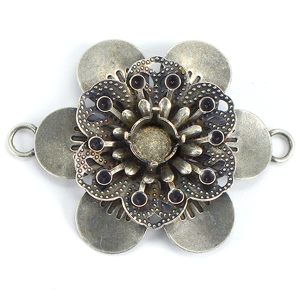 5 Piece 39ss, 14pp Flower pendant base with two side loops for jewelry making