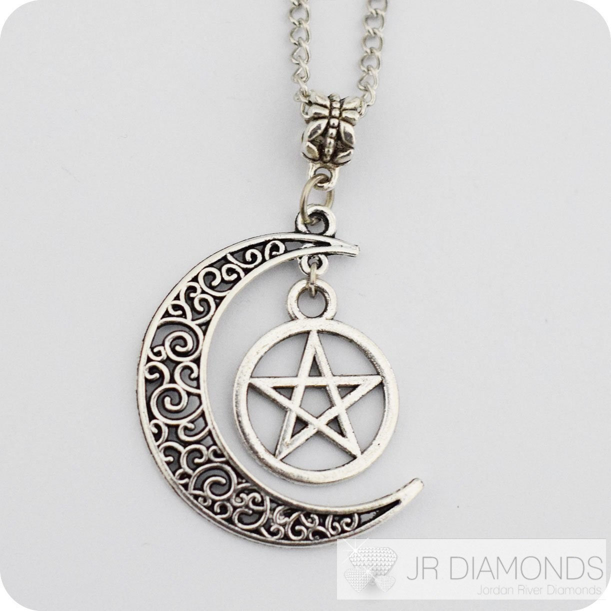own silver crescent moon pendant wiccan jewelry pentacle