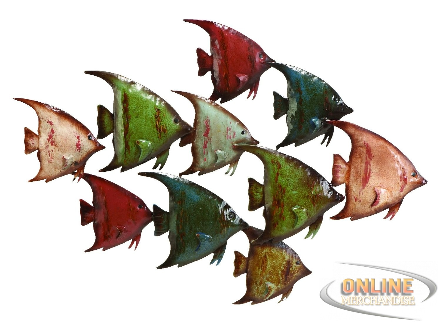 New benzara 63533 coastal fish metal wall nautical decor for Fish metal wall art