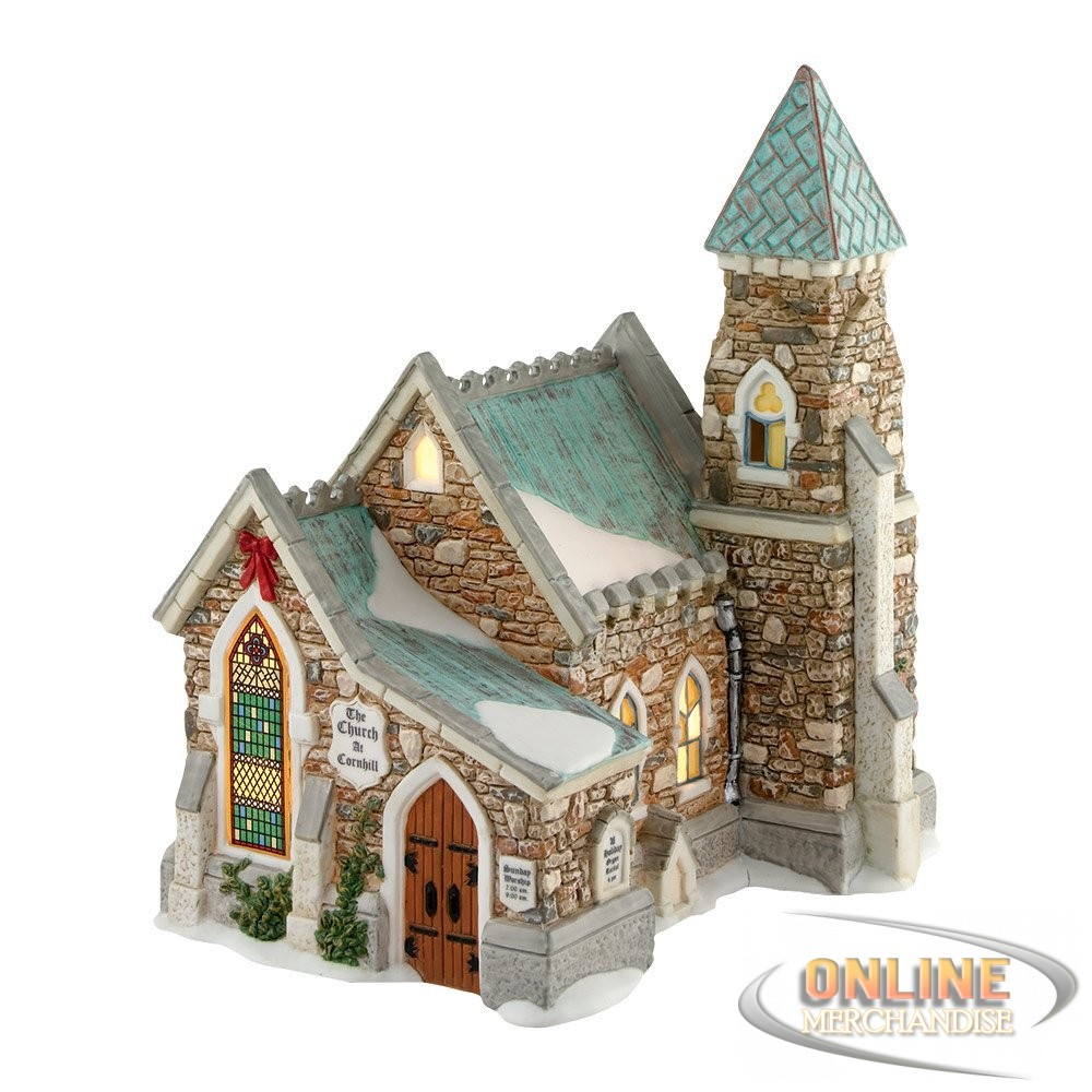 dickens christmas carol village department 56 the church at cornhill decoration ebay. Black Bedroom Furniture Sets. Home Design Ideas