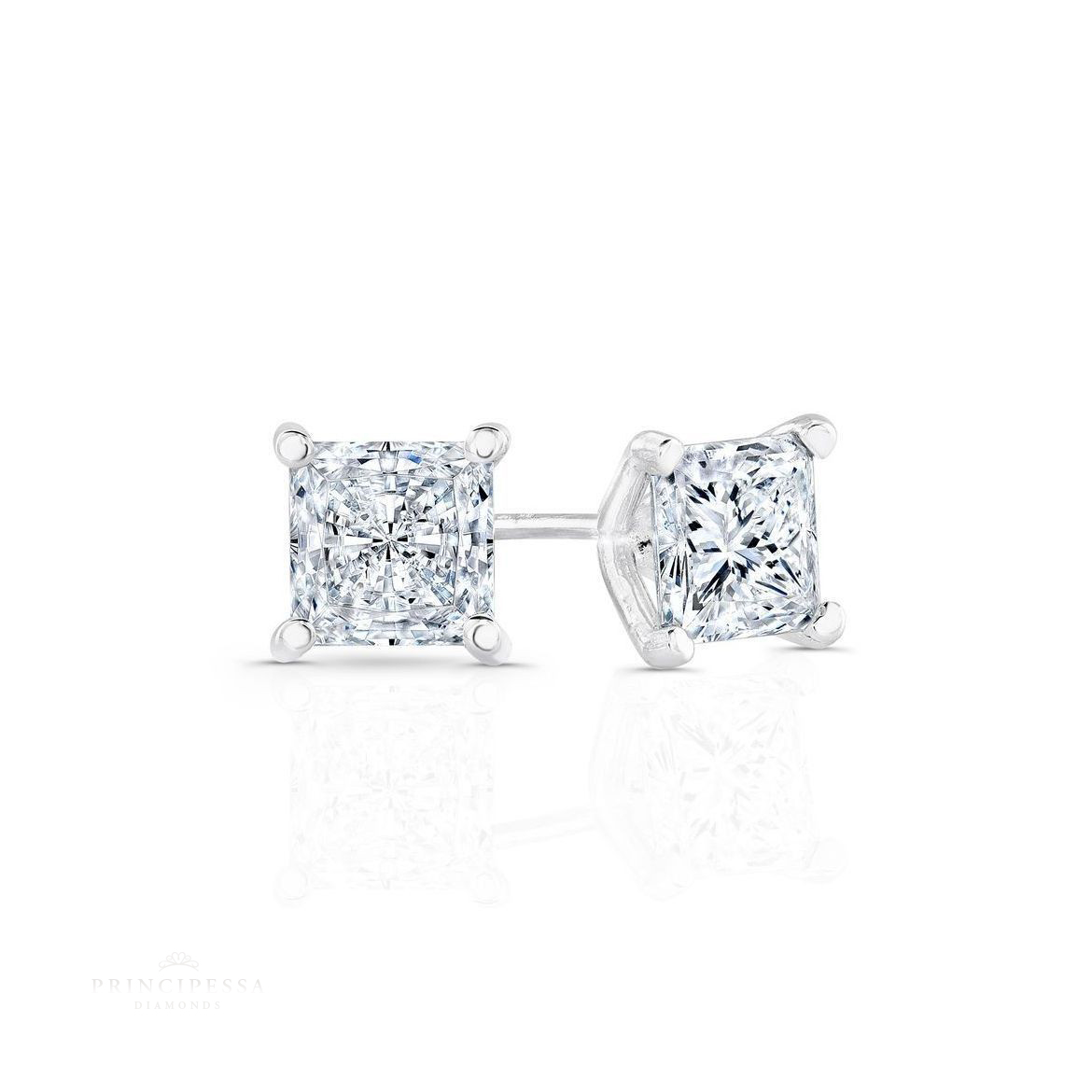 1 CARAT REAL F PRINCESS CUT DIAMOND SOLITAIRE ACCENT RING WHITE GOLD 14K