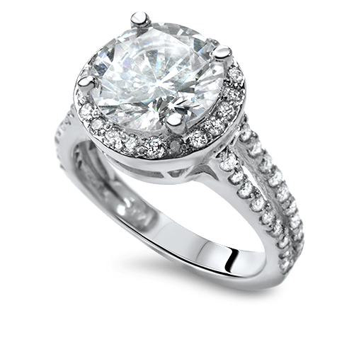2 6 CARAT ROUND CUT SOLITAIRE ACCENT DIAMOND ENGAGEMENT RING WHITE GOLD 14K