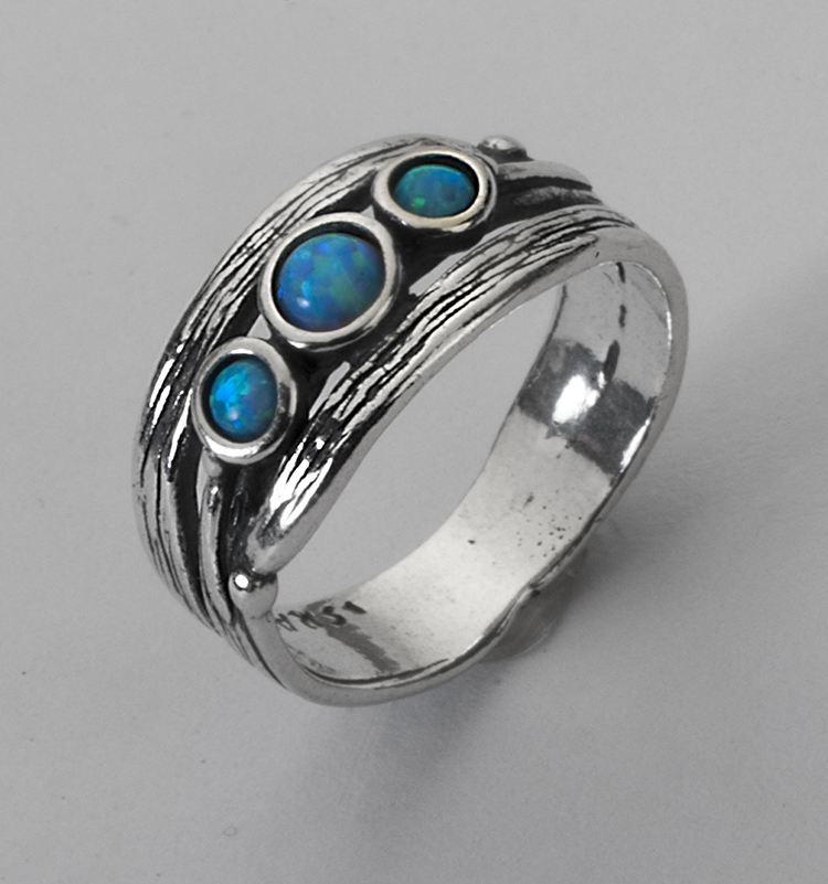 Vintage Hammered Solid 925 Sterling Silver Rings Blue Simulated Opal Round St