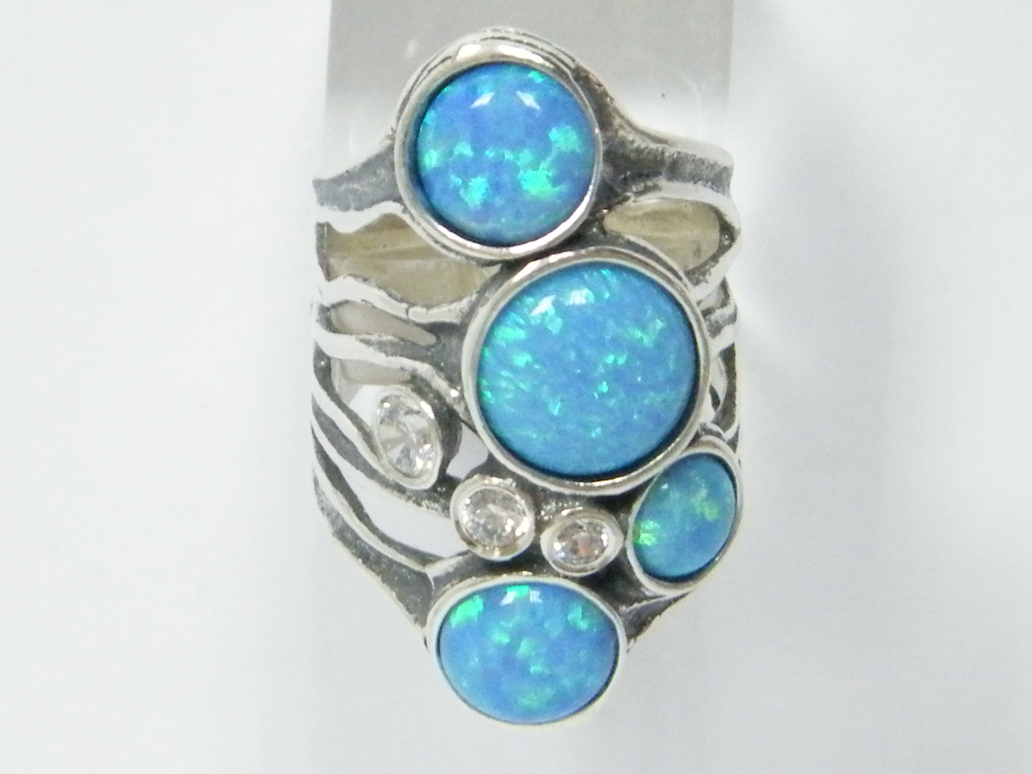 big 925 sterling silver unique 7 stones ring 6 6 mm blue