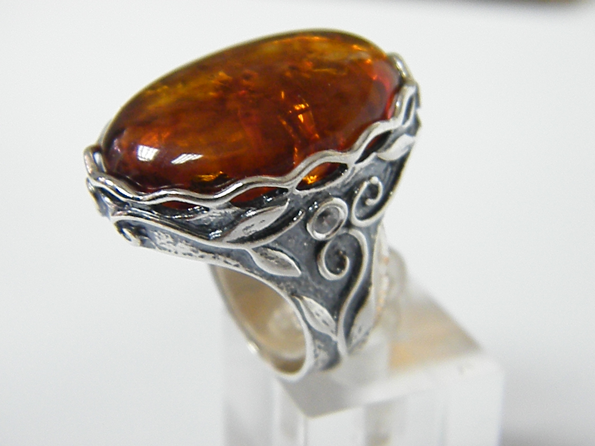 how to clean amber and silver ring
