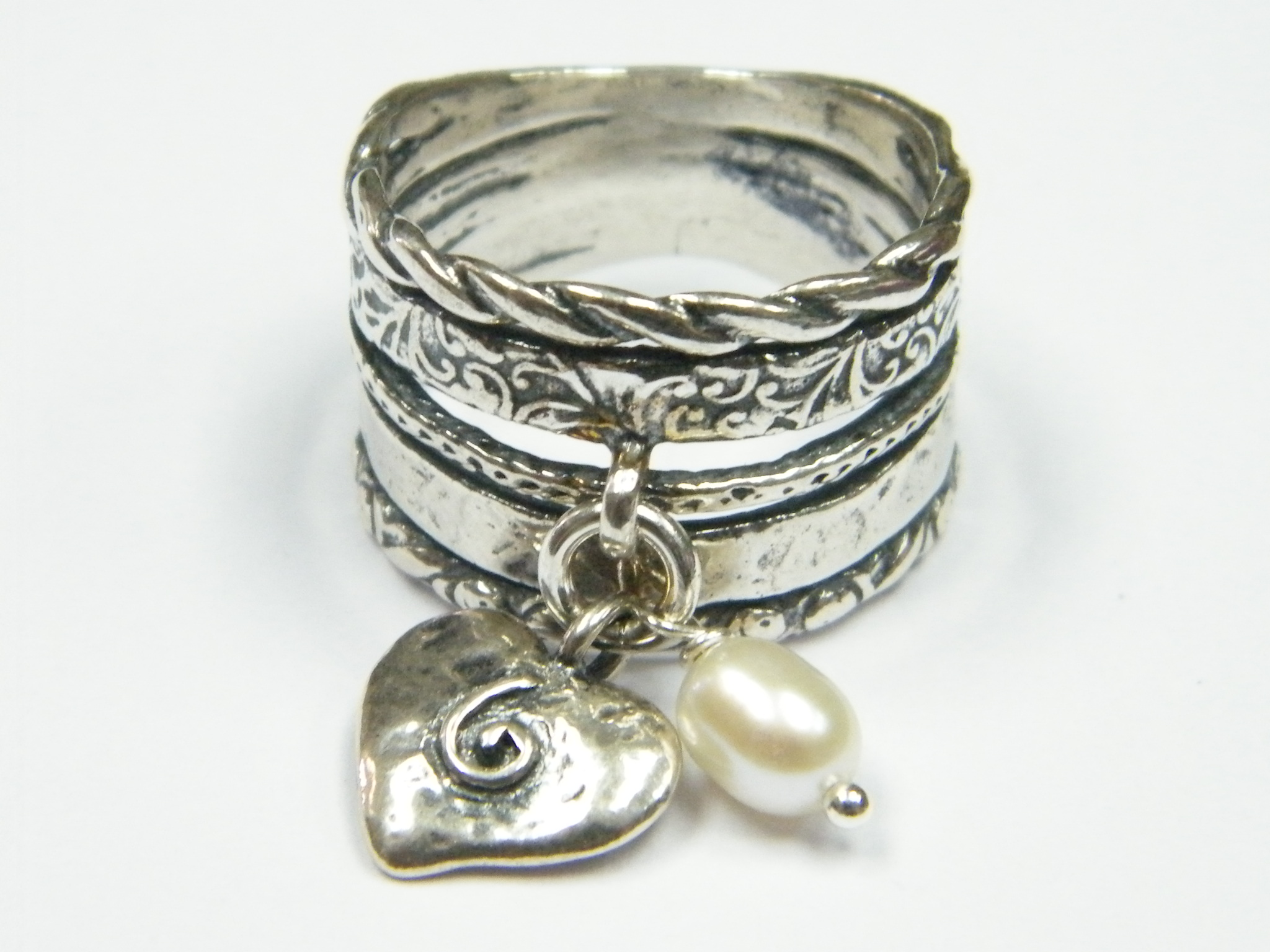 s sterling silver texture ring with and