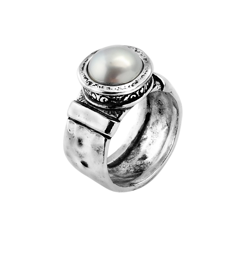shablool silver ring 925 sterling silver pearl cabochon