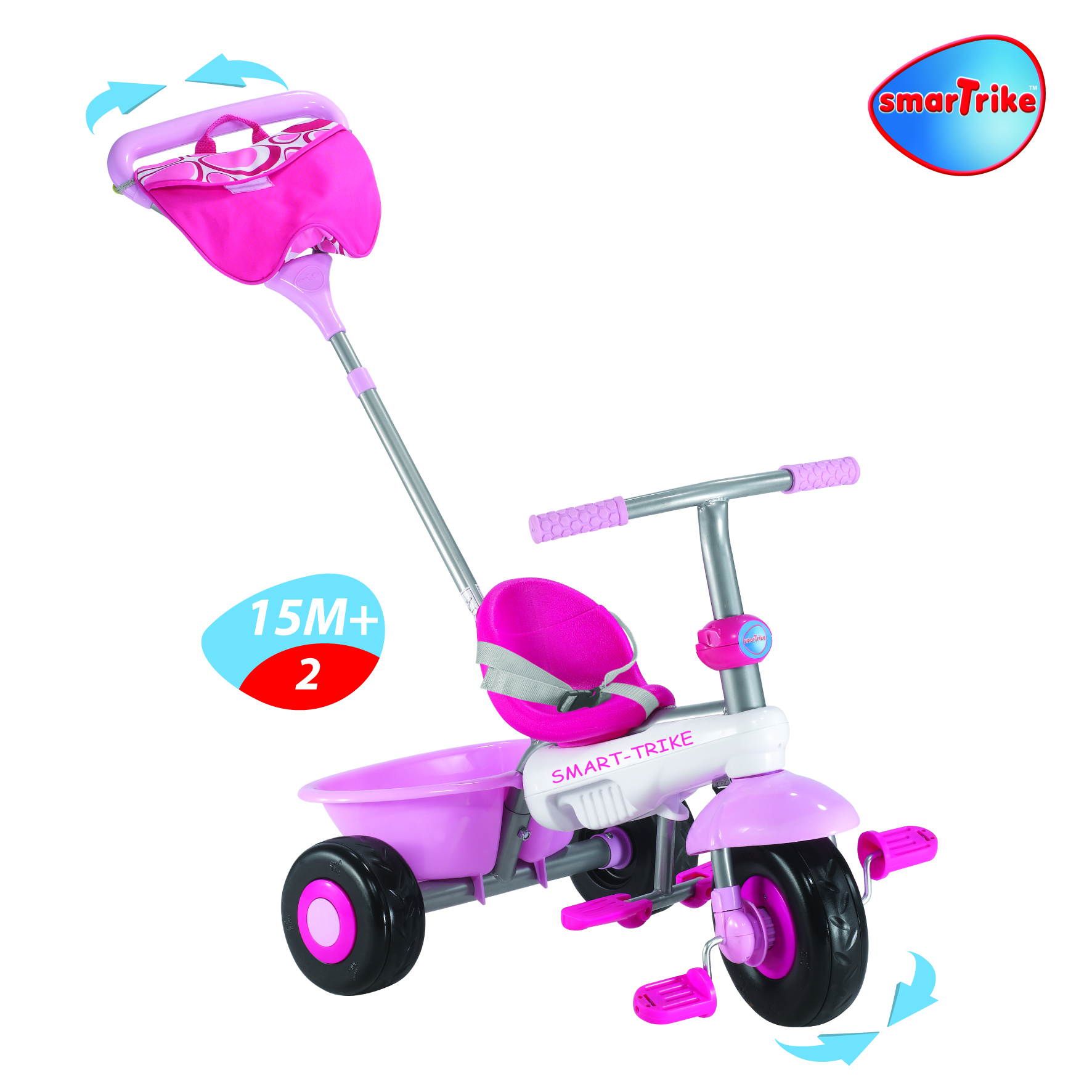 New Smart Trike Fresh Pink 3 In 1 Trike Touch Steering