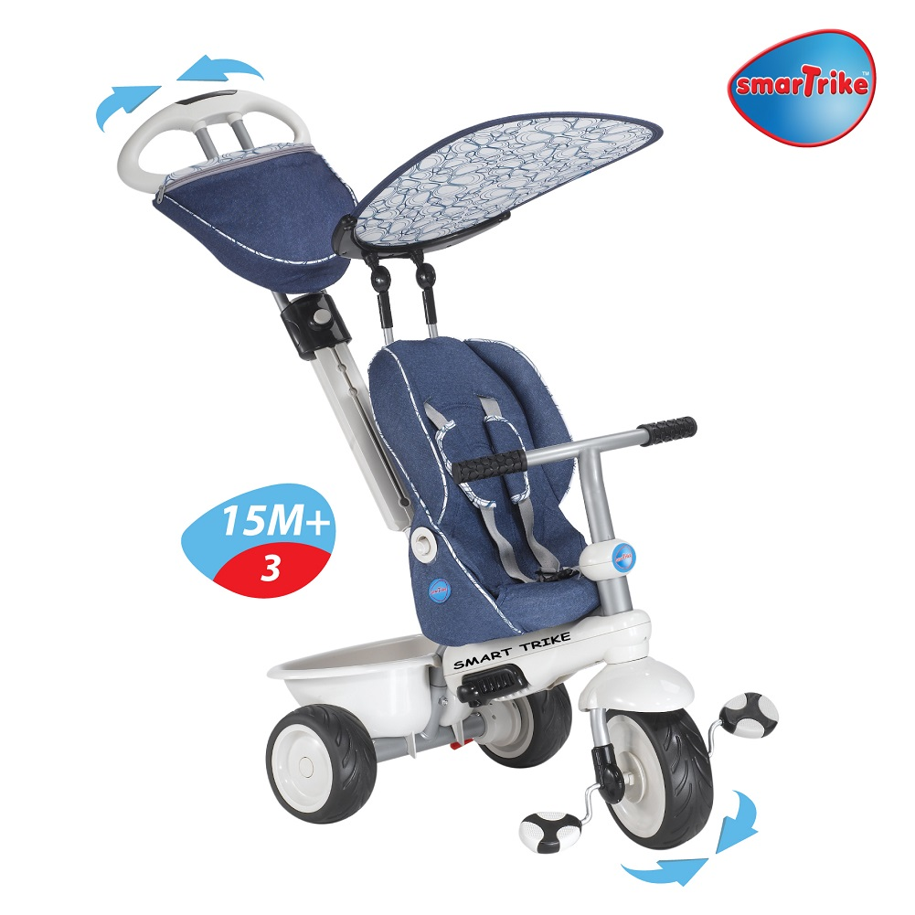 new smart trike recliner stroller 4 in 1 smartrike blue. Black Bedroom Furniture Sets. Home Design Ideas