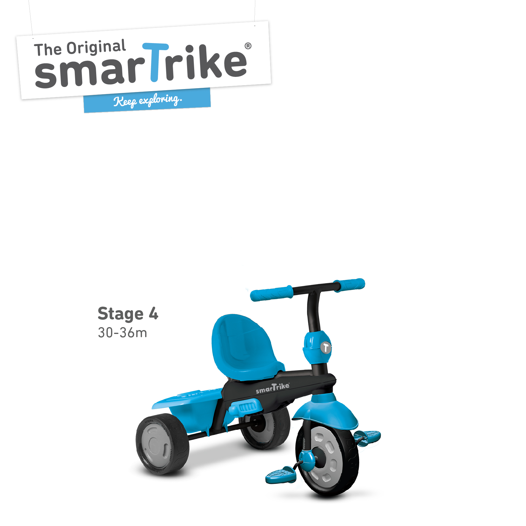 new smart trike glow blue touch steering 4 in 1 tricycle. Black Bedroom Furniture Sets. Home Design Ideas