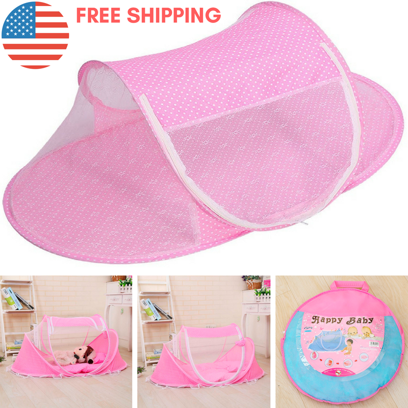 Picture 6 of 10 ...  sc 1 st  eBay & Baby Travel Bed Portable Crib Pink Girls Pop up Tent Protect Bugs ...