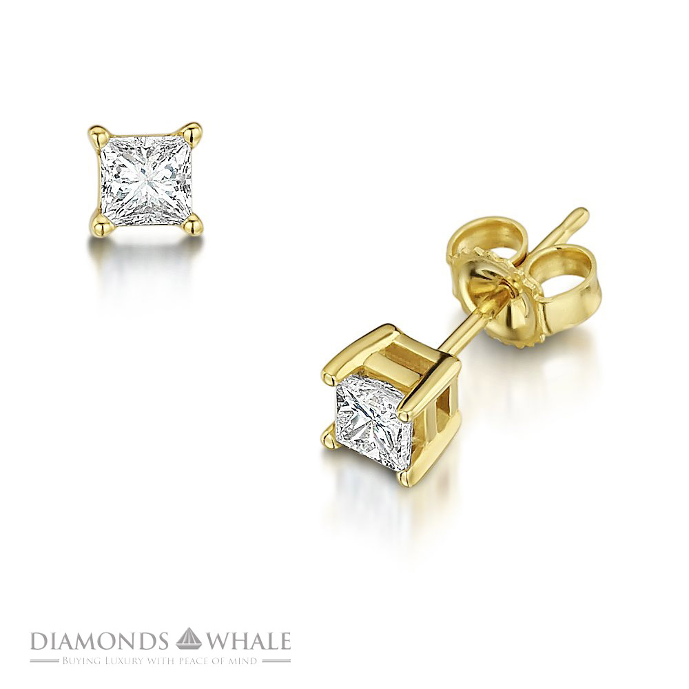 1 ct princess cut earrings 1 ct classic princess cut f vs stud earrings 14k 6202