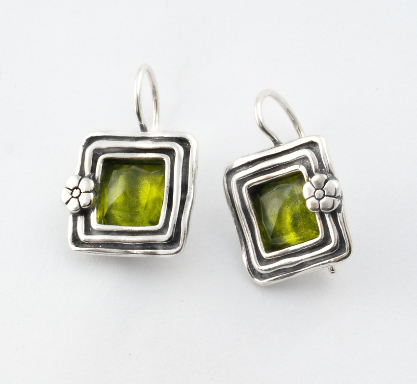 silver sterling in peridot long earrings art deco solid